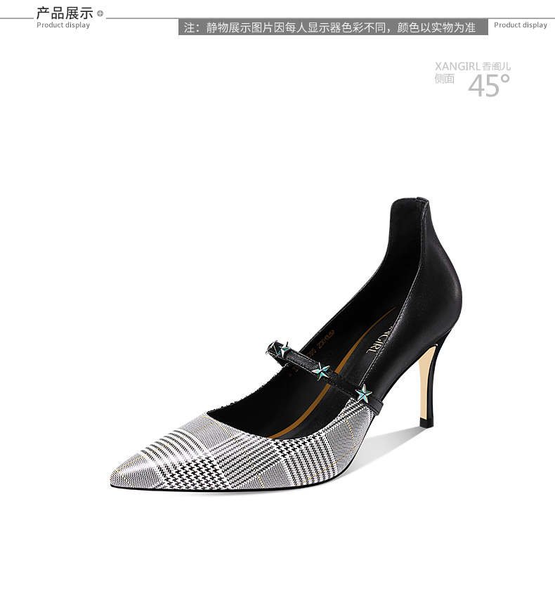 pointed office women decorated toe high heel for fashion shoes Lady star 5U7xv5n