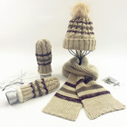 3pcs Soft Warm Knitted Hat Gloves & Scarf Winter Set Cold Weather Accessory Set