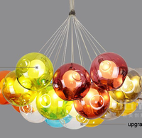 hotel lobby European style unique colorful ball globe glass ball pendant lamp