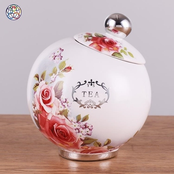 Hot selling modern fashion circular hand painted storage decorative jars
