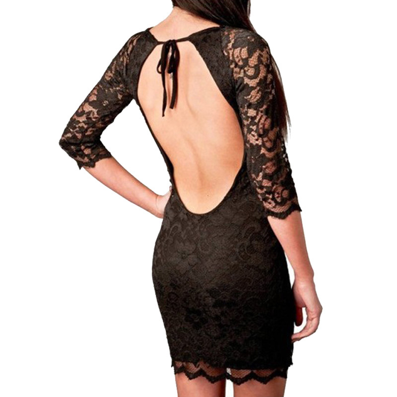 Sexy Open Back Dresses 2015 Women Summer Style Bandage Bodycon White Lace Dress Backless Black Desigual Party Vestidos Renda