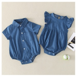 2019 Summer Newborn Infant Baby Girls Denim Romper Jumpsuit Clothes Outfit Toddler Blue One-piece Rompers Wholesale