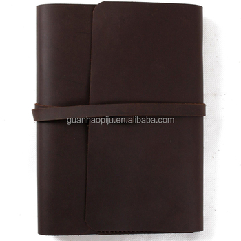 Dark Brown 120 Sheets Genuine Leather Bound Notebook With Leather Tie Closure