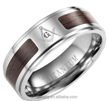 2015 Wholesale Custom Masonic Stainless Steel Wood Ring