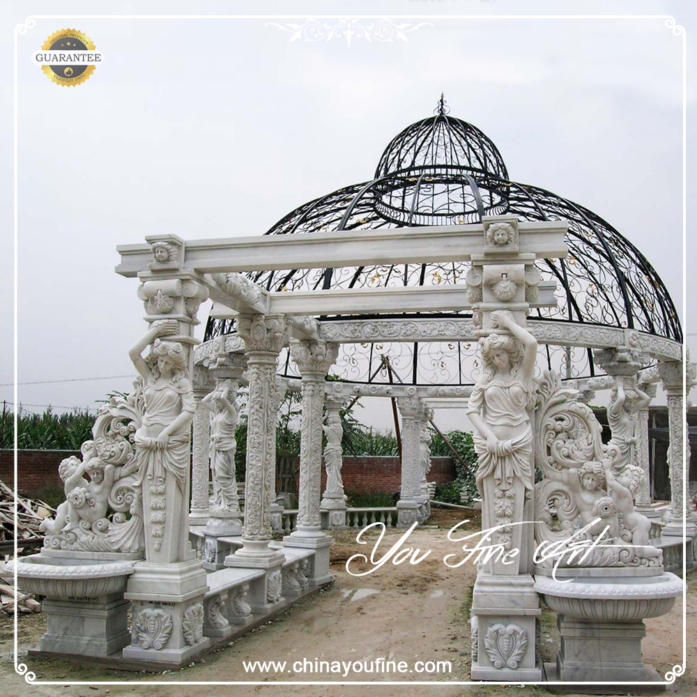 Chinese Round Marble Gazebo with Wind Roof