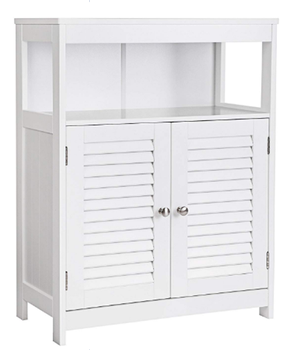 White Wood Bathroom Storage Cabinet