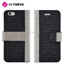 Wholesale wallet style mixed colors leather flip cover full diamond card slot case for Apple iphone 6s
