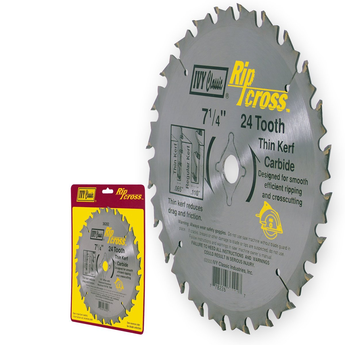 Ivy Classic 36202 Ripcross 24 Tooth Thin Kerf Carbide Circular Saw Blade with 5/8-Inch Diamond Knockout Arbor, 1/Card, 7-1/4-Inch