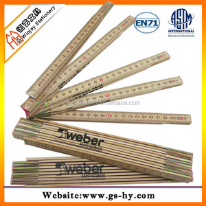 Basswood material custom logo printing 100cm wooden foldable ruler