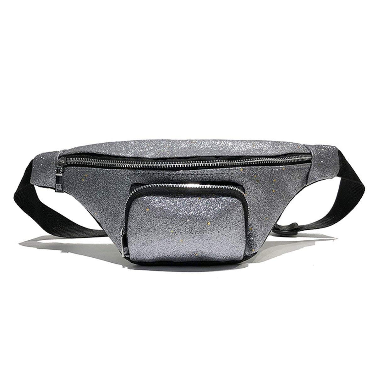 Andear Waist Bag Shiny Sequins Bumbag PU Waterproof Fanny Pack Sports Hiking Running Hip Pack Travel Chest Bag