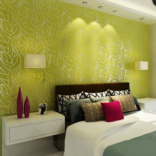Curve Line Non Woven Feature Wall Wallpapers For Bedroom
