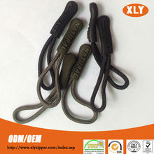 Customized fashion string zipper puller with cord soft rubber pvc handbag silicon puller zipper