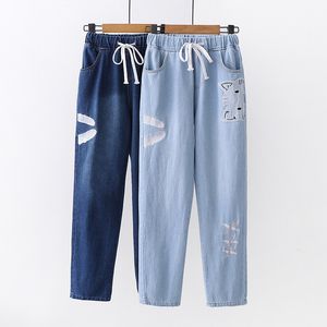 Casual loose elastic waist women cat embroidered denim jeans pants