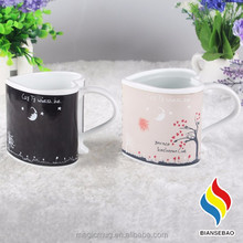 promotional 11oz sublimation magic mug, heart shape ceramic mug