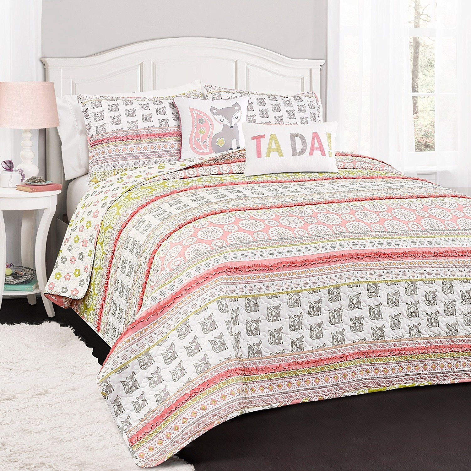LO 4 Piece Girls Pink Green White Grey Foxy Fox Themed Quilt Twin Set, Cute Girly Horizontal Stripe Paisley Floral Bedding, Multi All Over Geometric Flower Rufle Pattern, Gray, Polyester