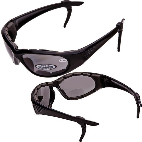 46e0aa67ac Get Quotations · Rider II - POLARIZED Bifocal Sunglasses - EVA Foam Padded  Motorcycle Goggles - 2.00 Magnifier