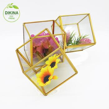 Round Vintage Flower Plant Terrariumlarge Square Glass Brass Box