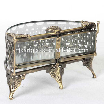 MX160006 Hot wholesale tiffany style clear glass jewelry box