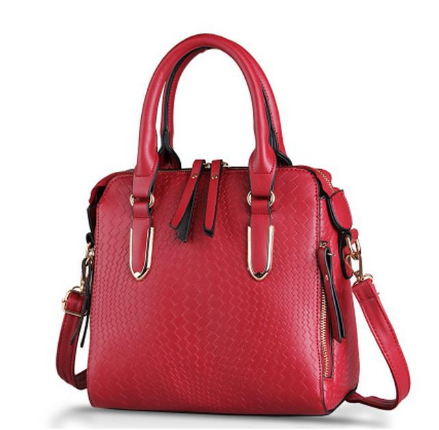 hot  new fashion red women's singles shoulder bag Girls College Wind Lingge bag diagonal weave pattern retro shoulder bag