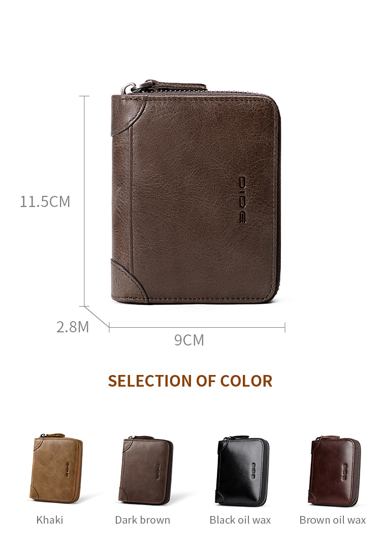 DIDE Key Case Short Zipper Custom Genuine Cowhide Leather Wallet Leather Mens Wallet With Card Holder
