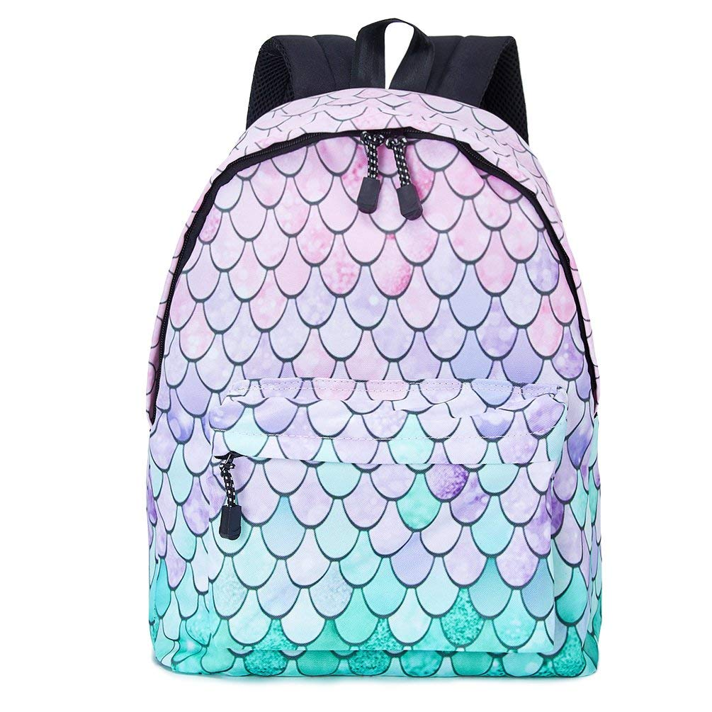 Get Quotations · Uideazone School Bookbags for girls Cute Fish Scales  Backpack College Bags Women Travel Bags 8f8f817f69