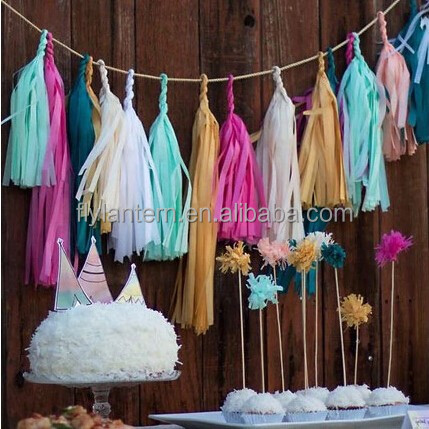 Wholesale Paper Garland,DIY Hanging tissue paper tassel garland for party <strong>decorations</strong>