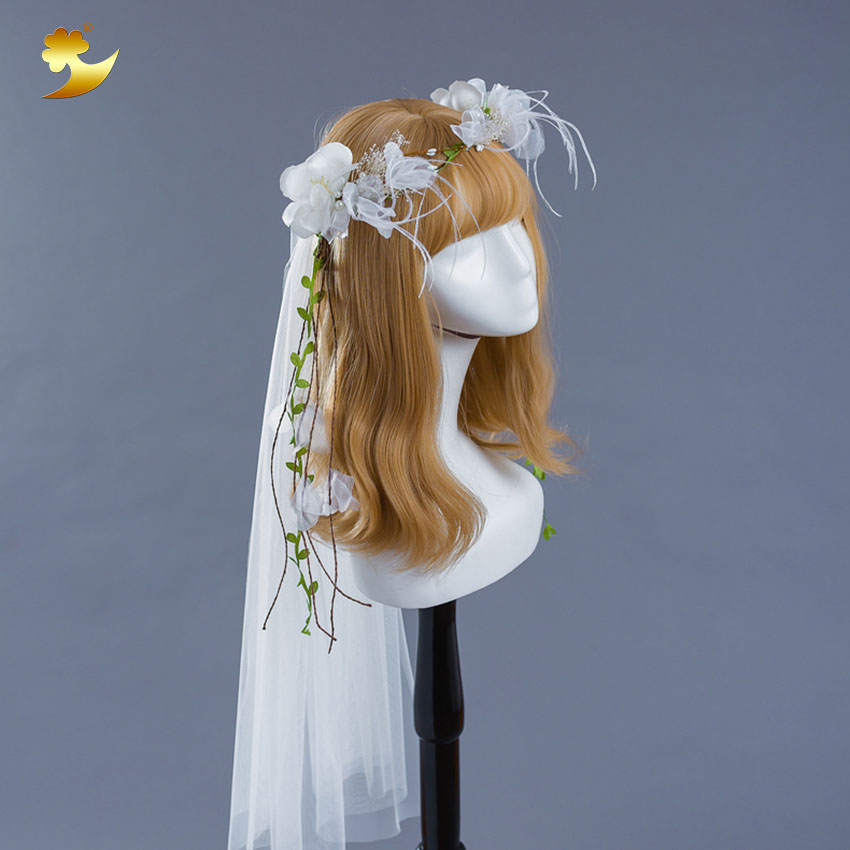 White Apparel Accessory Flower crown Fancy Bride Headdress Feather Bride Veil