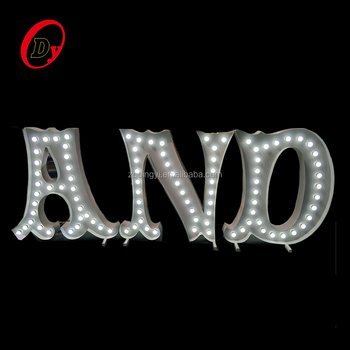 customized outdoor advertising metal electronic marquee letter signs decorative led light up letter marquee