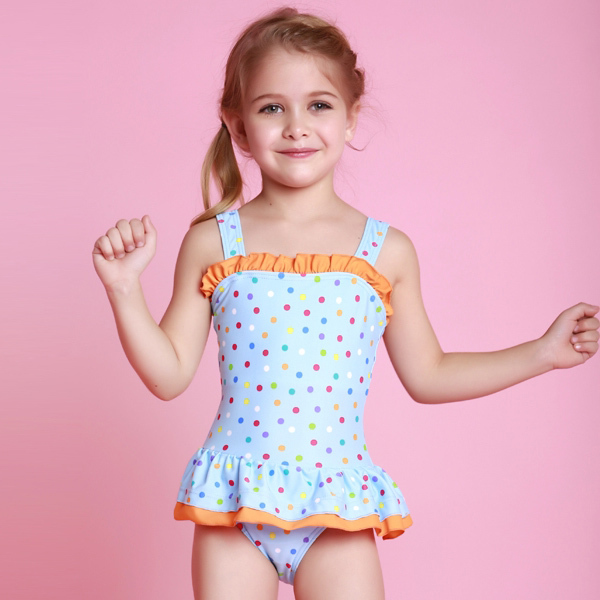 2015 Summer Girls Bathing Suits Child One Piece Dot Print