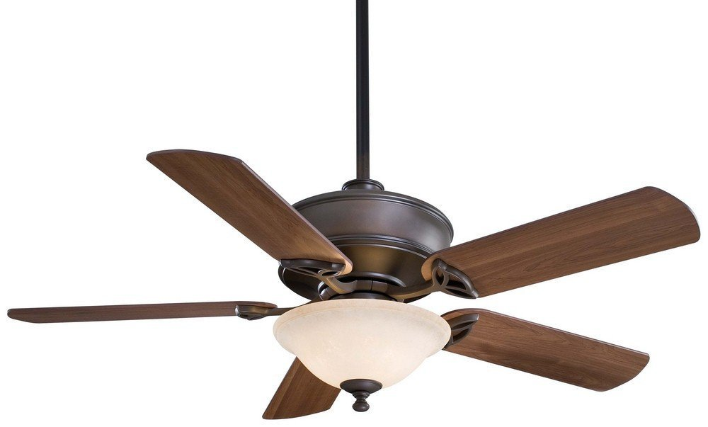 "Minka Aire F620-ORB Bolo - 52"" Ceiling Fan with Light Kit, Oil Rubbed Bronze Finish with Medium Maple Blade Finish with Excavation Glass"