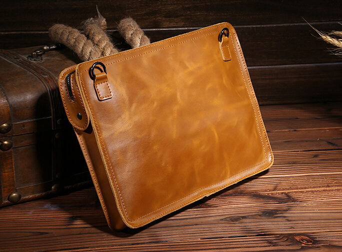 Boshiho Genuine Brown Oil Wax Leather Clutch Leisure Man Shoulder Bag