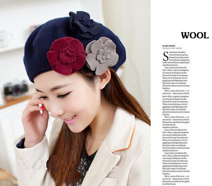 079c7e5469e Fashion Beret hat female Beanie with three pieces flowers winter wool Cap  for ladies Hot sale clothing set