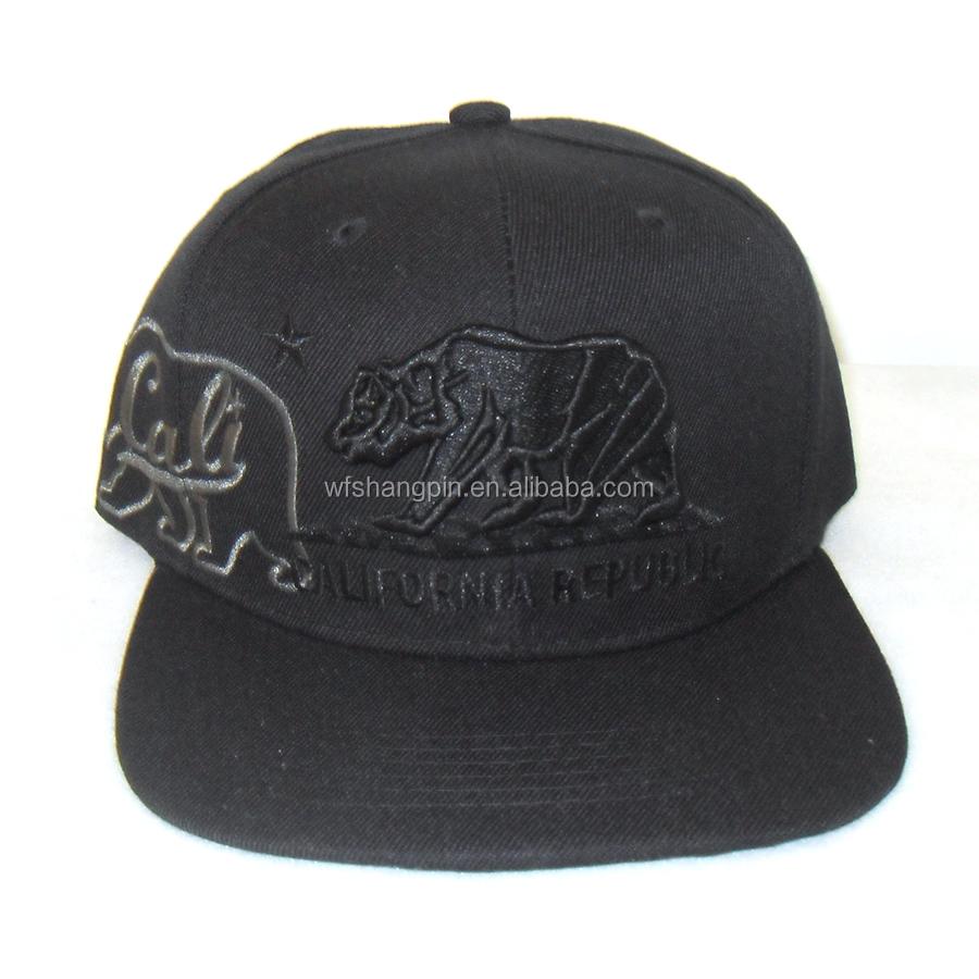 100% Sarga de acrílico negro casquillo del SnapBack bordado 6 paneles  deportes visera sombrero ca7637df7cb