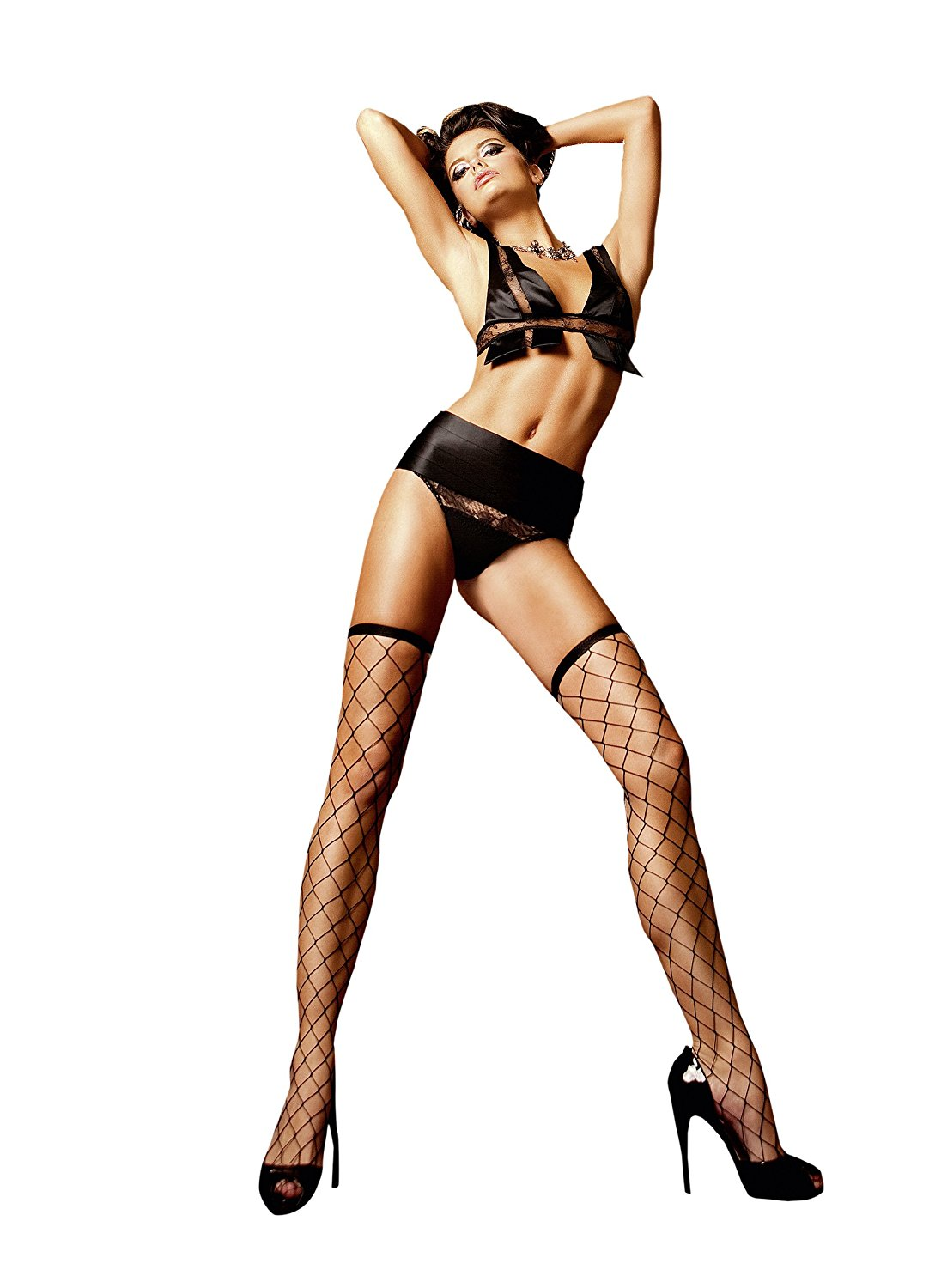 9f053104a Get Quotations · Baci Lingerie Women s Spanish Dreams Fence Net Thigh High  Sock
