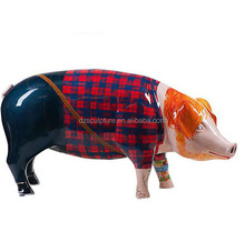 Modern animal design fiberglass pig sculpture with wearing casual clothes