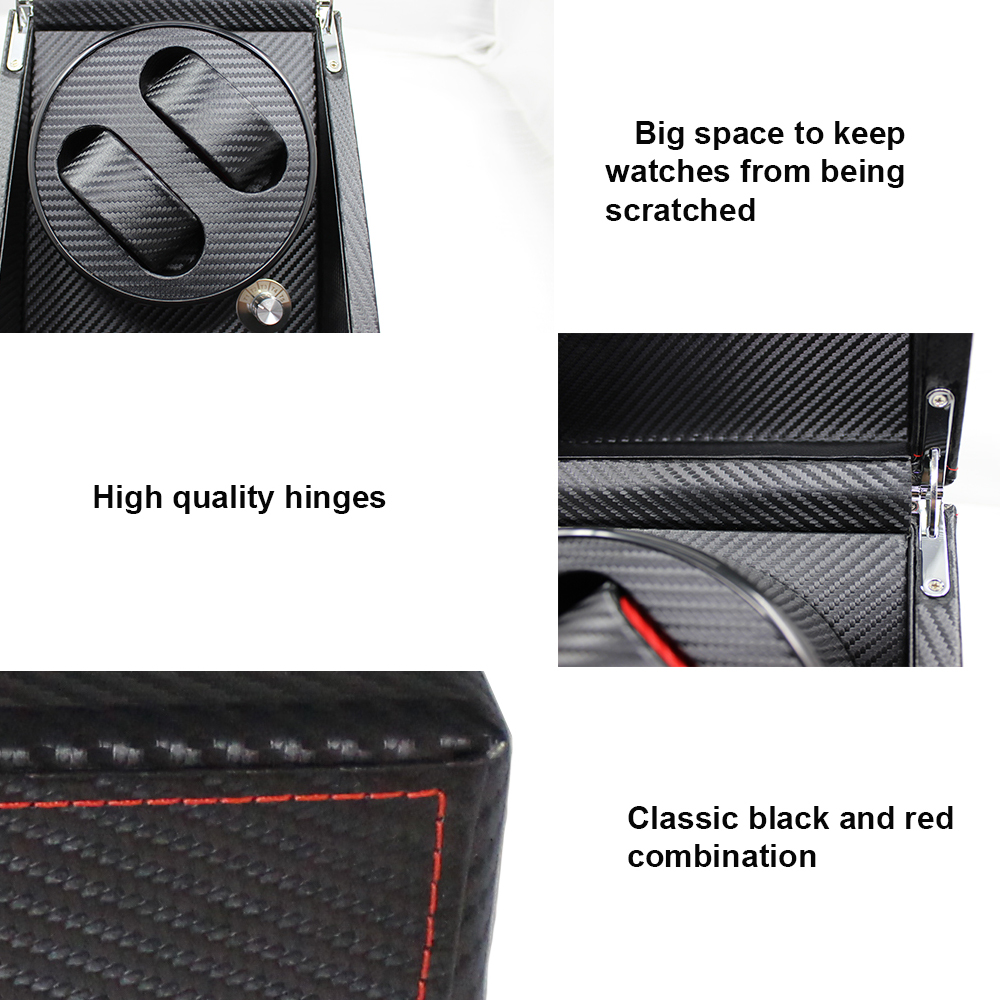 Stock Carbon Fiber Pu Leather Automatic Dual Watch Winder