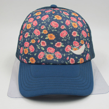 9c424b45c Rosy Flower Floral Bucket Hat Royal Blue Foam Half Nylon Mesh Baseball Cap  - Buy Custom Half Mesh Baseball Cap,Floral Bucket Hat,Royal Blue Foam ...