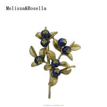 Melissa&Rosella Rural Style China Wholesale Blueberry Branch Shape Brooch For Women Dress or Suit