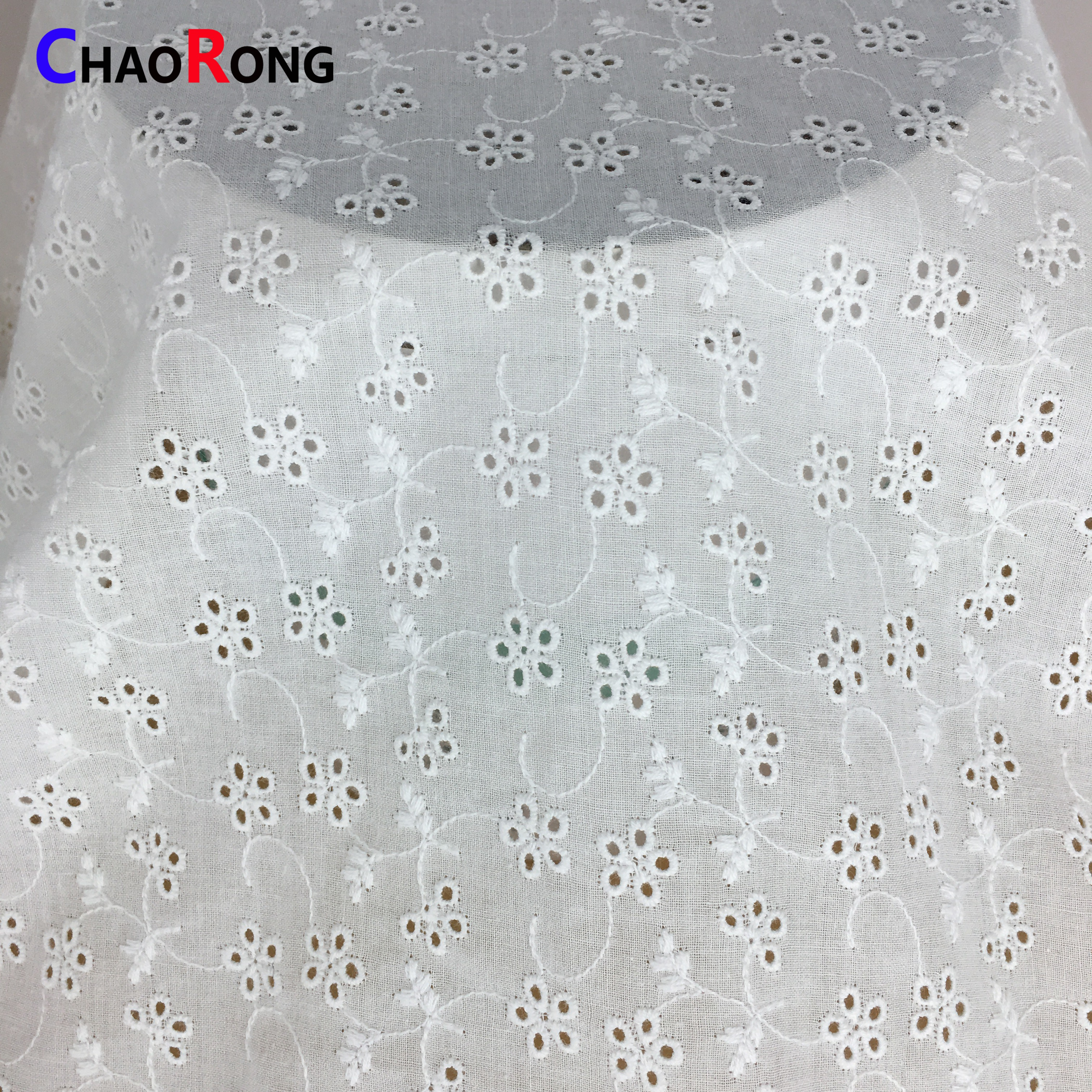 CRF0738 pure white cotton swiss lace fabric for man
