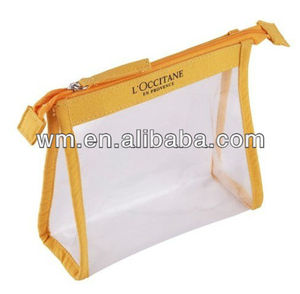 Promotional clear PVC cosmetic bag with cotton binding