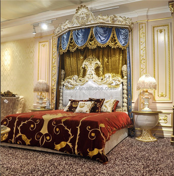 Royal Crown Upholstery Canopy Bedroom Set, Italian Style Poster Canopy Bed  Set in Gold and