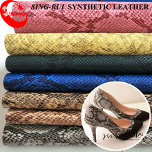 China Supplier 1.0mm Classic Snake Skin Pattern PU Synthetic Leather