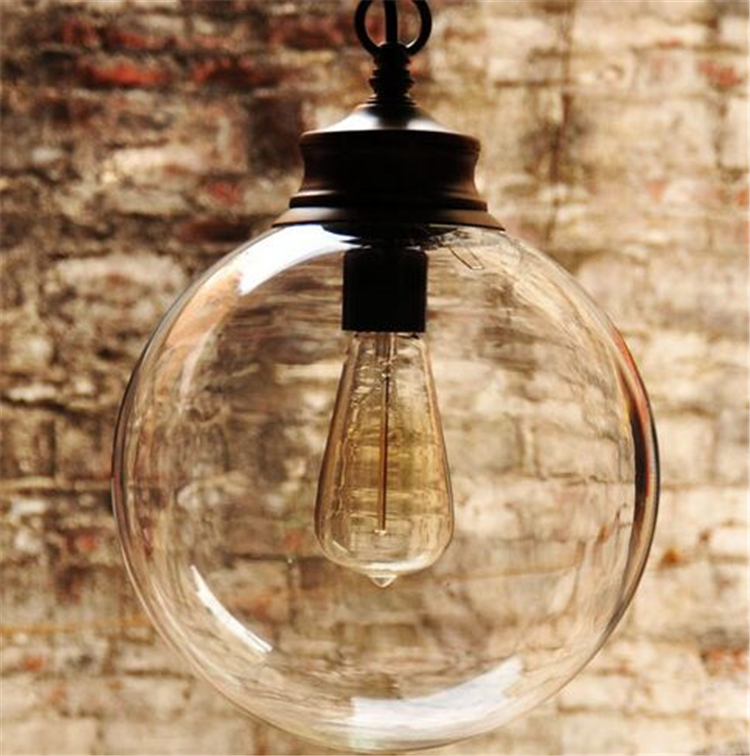 Tradition Globe Clear Glass Lampshade Wrought Black Iron Parts Simple Lighting Pendant Lamp New Modern for Table Dining