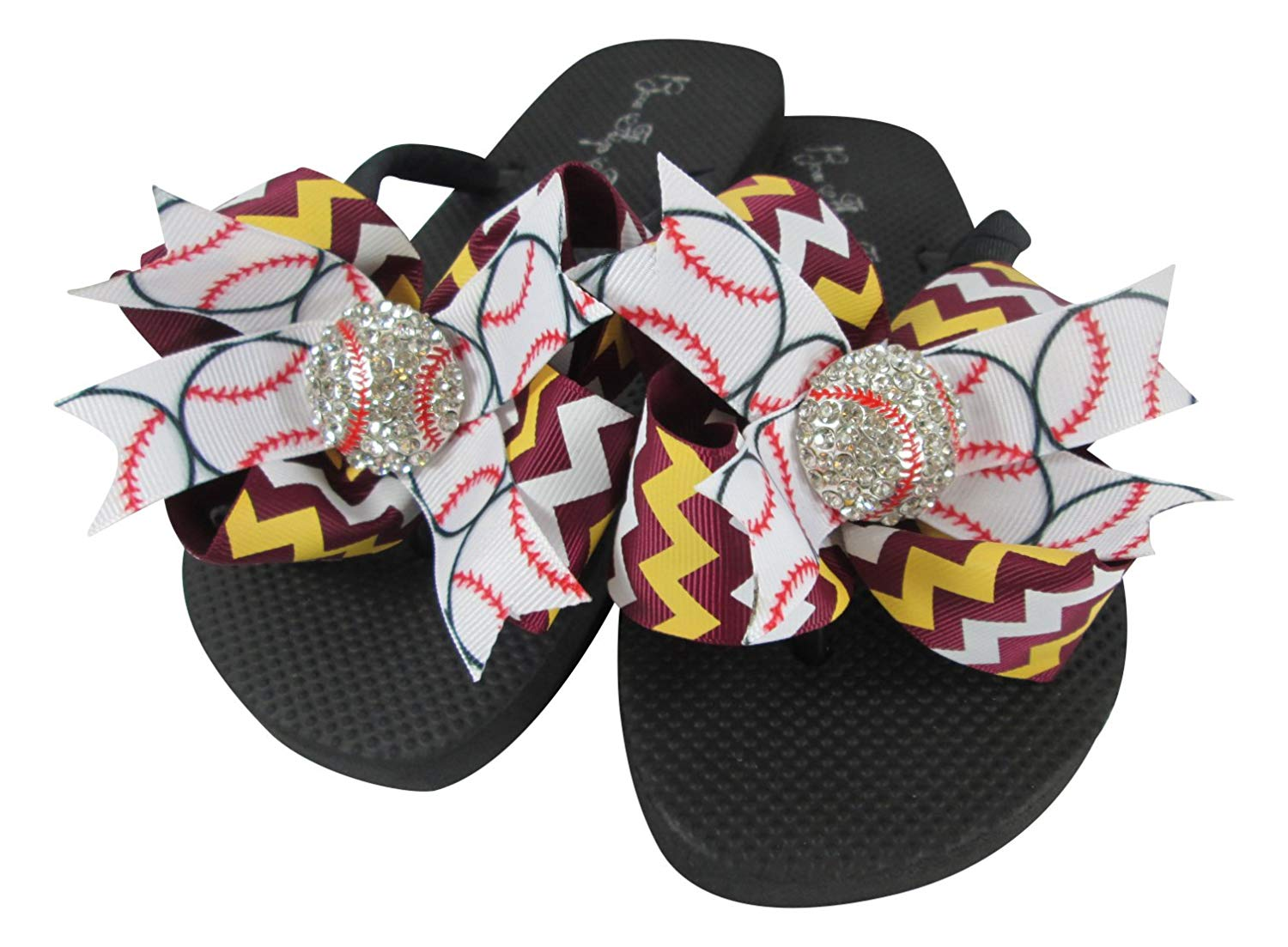 8ec16f8be4d706 Get Quotations · Choose your Team Colors Baseball Bling Bow Flip Flops