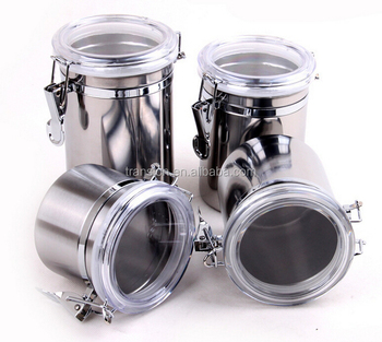 Mirror Polish 5u0027u0027 Stainless Steel Kitchen Canister Sets