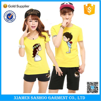 Promotion Online Shopping Custom Couple T Shirts Screen Printing Made In China