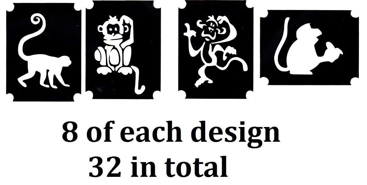 Monkey Collection (32 Tattoo Glitter Airbrush Stencil Monkey)