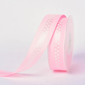 OEM color pink 25MM polyester ribbon grosgrain with satin dot printed
