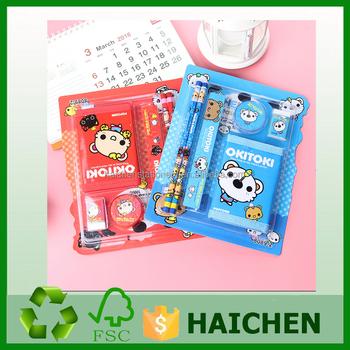 children cheap gift school stationery set ruler pencil wallet