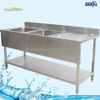 304 Stainless Steel Commercial Kitchen Sink Bench Two Bowls Sinks Work Table With Left Drainboard For Restaurant Buy 304 Stainless Steel Commercial